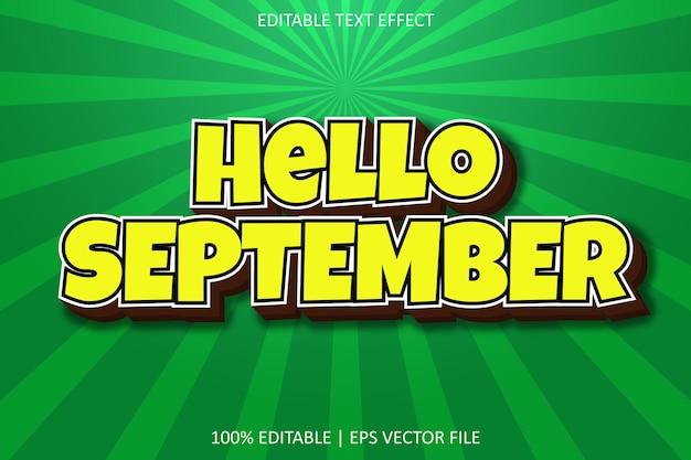 Ciao settembre con effetto di testo modificabile in stile moderno