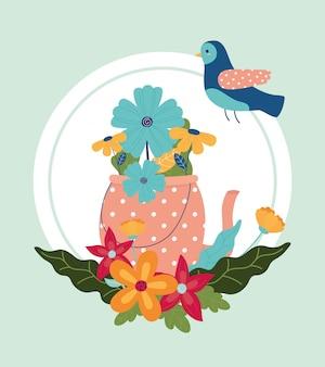Ciao disposizione primaverile fiori floreali in vaso con decorazione di uccelli