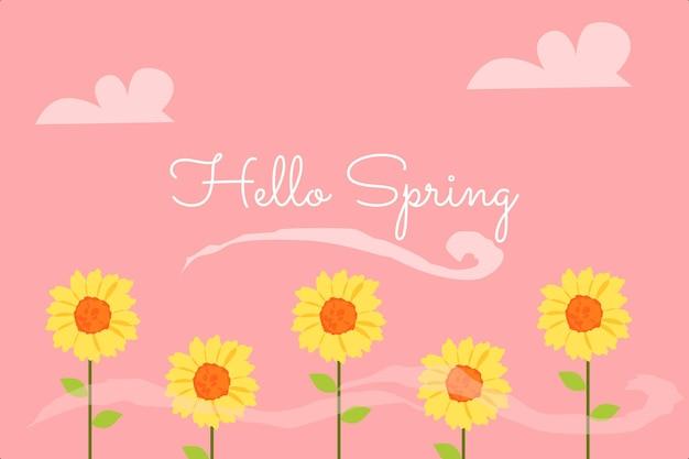 Ciao primavera sfondo vettoriale premium adatto a più scopi