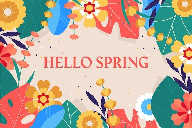 Ciao sfondo primavera con fiori