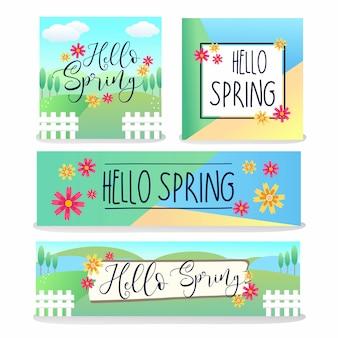 Hello spring banner design collection per la pubblicazione di social media su web e media.