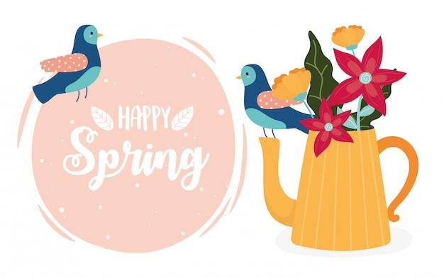 Ciao primavera uccelli e teiera con ornamento di fiori