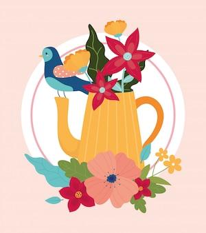 Ciao primavera blu teiera uccello con decoro fogliame fiori