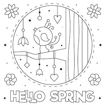 Ciao primavera. pagina da colorare. bianco e nero