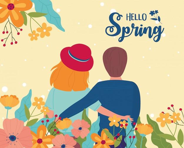 Ciao primavera carattere coppia fiori natura decorazione