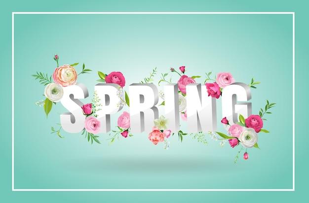 Ciao disegno floreale di primavera con fiori che sbocciano. sfondo botanico primaverile con rose per decorazione, poster, banner, buono, vendita, t-shirt, stampa. illustrazione vettoriale