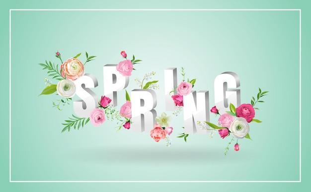 Ciao disegno floreale di primavera con fiori che sbocciano. sfondo botanico di primavera con rose per decorazione, poster, banner, buono, vendita, t-shirt. illustrazione vettoriale
