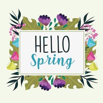 Ciao etichetta di fiori di primavera
