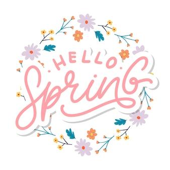 Ciao primavera fiori testo sfondo cornice lettering slogan