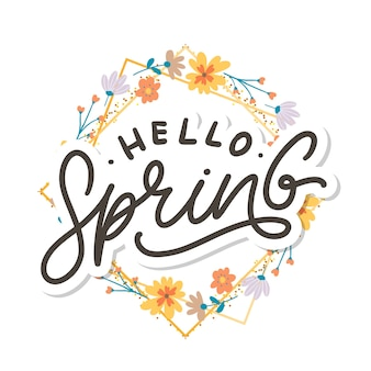 Ciao spring flowers text frame lettering slogan