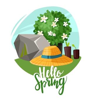 Ciao primavera piante da giardino lettering illustrazione