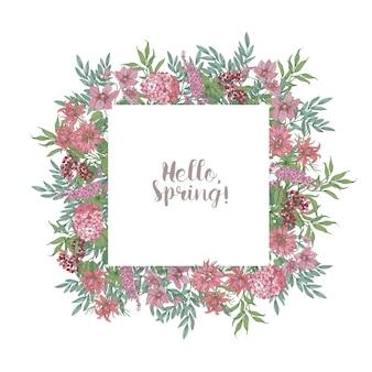 Ciao biglietto di auguri di primavera di bellissimi fiori rosa che sbocciano selvatici ed erbe fiorite disegnati a mano su bianco