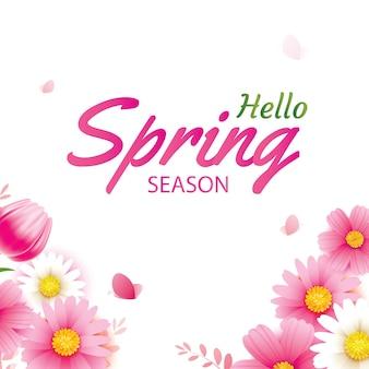 Ciao biglietto di auguri di primavera con fiori che sbocciano