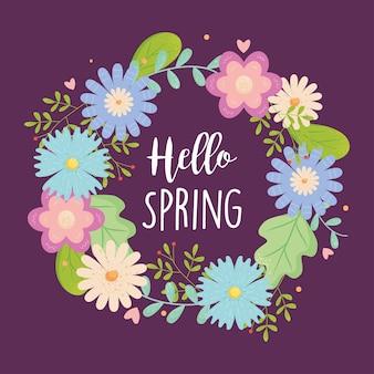 Ciao auguri di primavera con ghirlanda di fiori su viola