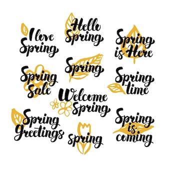 Ciao citazioni disegnate a mano di primavera. illustrazione di vettore degli elementi di disegno della natura dell'iscrizione scritta a mano.