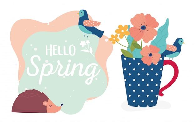 Ciao primavera riccio fiori nella stagione della decorazione vaso