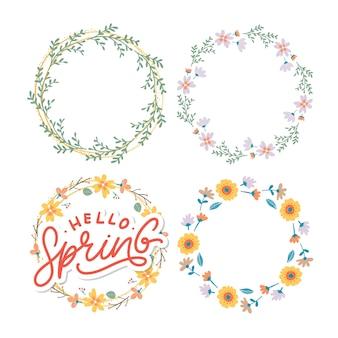 Ciao primavera lettering slogan e set di ghirlande floreali