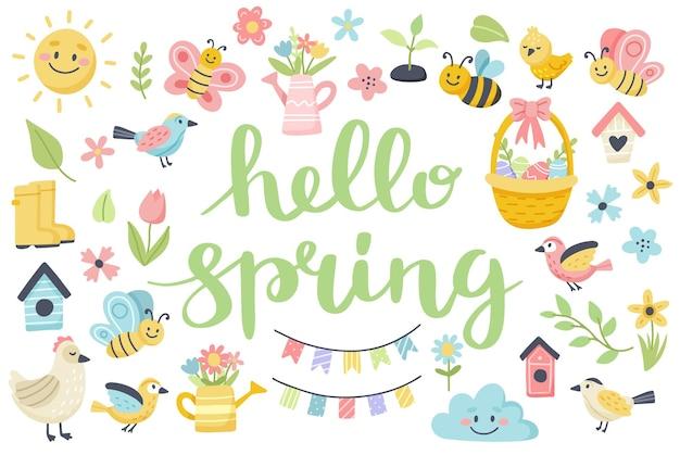 Ciao scritte primaverili con simpatici uccelli, api, fiori, farfalle. elementi del fumetto piatto disegnato a mano.