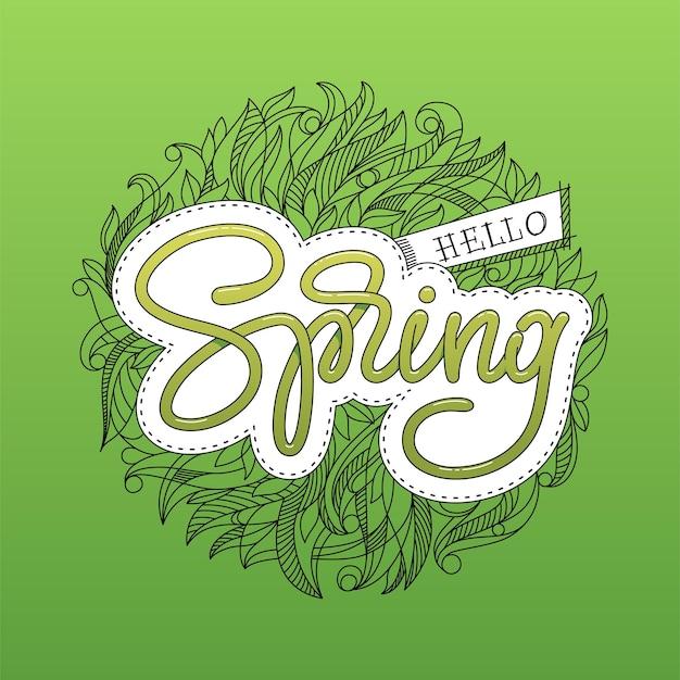 Ciao lettering primavera con motivo floreale abbozzato a mano.