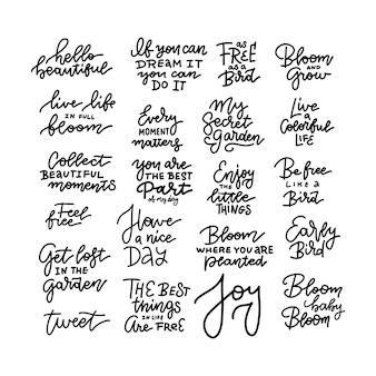 Ciao primavera set di tipografia con lettere lineari.
