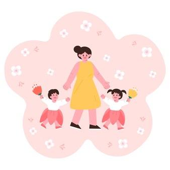 Ciao primavera, festa di primavera madre e figli si sono uniti per mano.