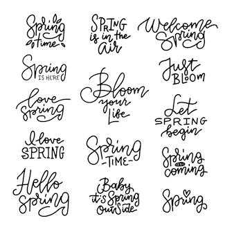 Ciao set di lettere di primavera