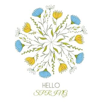 Ciao primavera. illustrazione vettoriale di una bella arte rotonda floreale con fiori di doodle carino