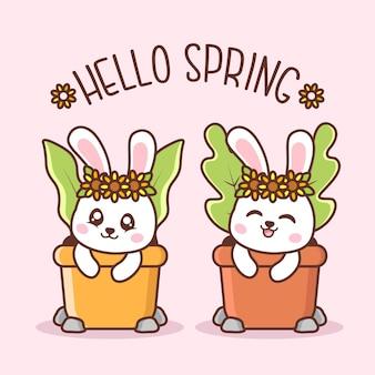 Ciao primavera con simpatici conigli all'interno del vaso