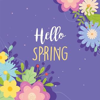 Ciao primavera con fiori card design, stagione ornamento floreale naturale giardino e illustrazione tema decorazione
