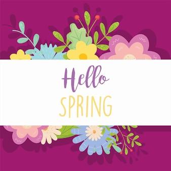 Ciao primavera con carta di fiori, stagione ornamento floreale naturale giardino e illustrazione tema decorazione