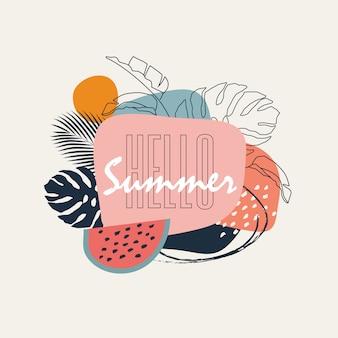 Ciao estate. bandiera colorata pastello alla moda astratta con forme geometriche e foglie tropicali per la promozione della campagna estiva.