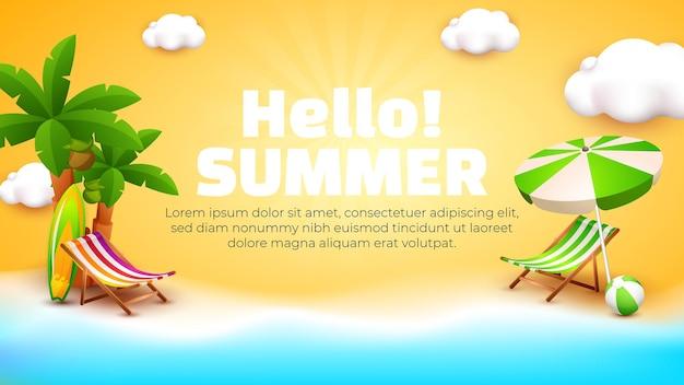 Ciao modello di banner estivo con spiaggia 3d