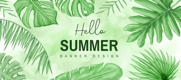 Ciao modello di banner estivo con foglie tropicali