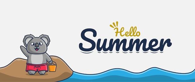 Ciao banner estivo con personaggio dei cartoni animati koala vacanza sulla spiaggia