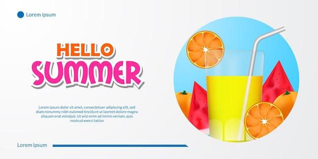 Ciao banner estivo con bevanda a base di succo di frutta tropicale con arancia e anguria