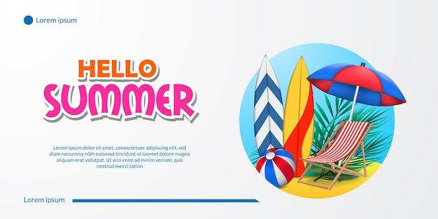 Ciao banner estivo con costa della spiaggia di sabbia, tavola da surf, ombrellone, sedia, palla e paesaggio