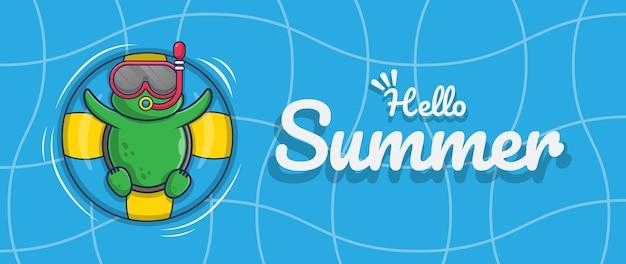 Ciao banner estivo con disegno del personaggio dell'illustrazione della tartaruga di nuoto