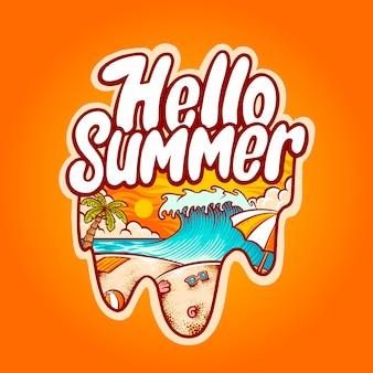 Ciao estate spiaggia illustrazione