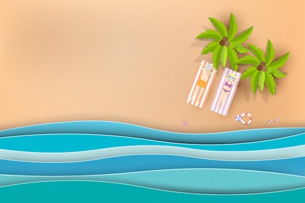 Ciao estate spiaggia vettoriale sfondo con palme.