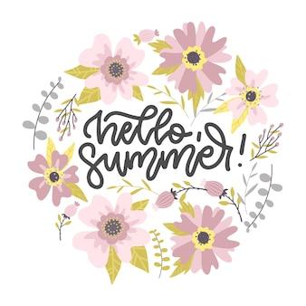 Hello summer card design pastello forma rotonda di fiori e foglie astratti con scritte
