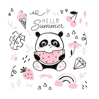 Ciao carta estiva con piccolo panda che mangia anguria