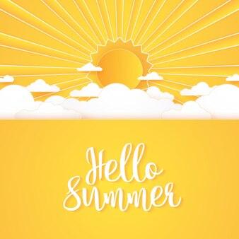 Ciao estate, cloudscape, cielo di nuvole luminose e sole con scritte, stile di arte della carta