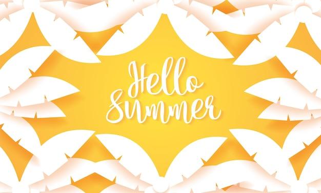 Ciao estate, sfondo di palma da cocco, stile di arte della carta