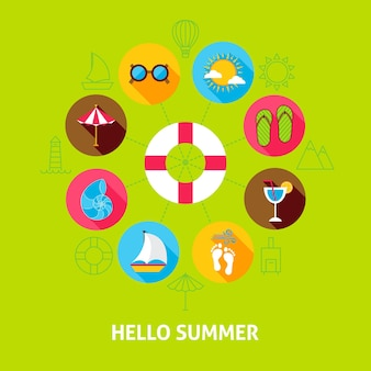 Ciao concetto di estate. illustrazione di vettore del cerchio di infographics di vacanza del mare con le icone piane.