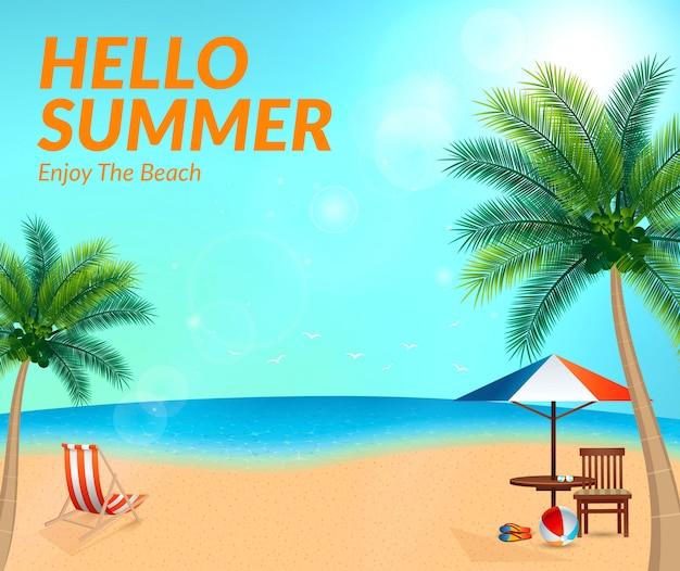 Ciao estate elementi spiaggia sullo sfondo