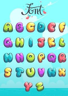 Hello summer - set di caratteri su sfondo azzurro. illustrazione vettoriale per videogioco web