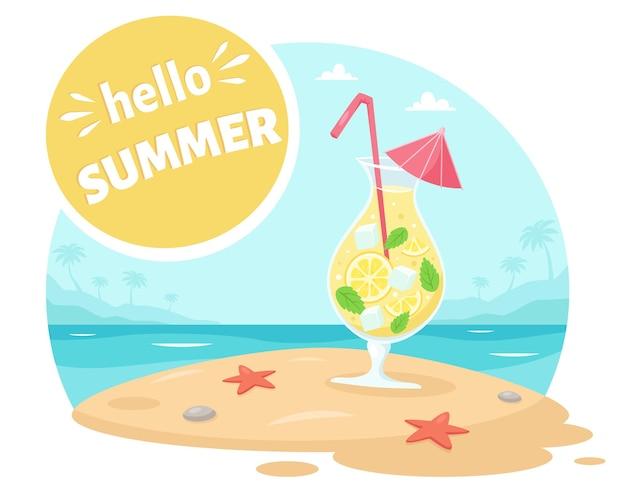 Ciao biglietto di auguri estivo spiaggia dell'oceano con cocktail
