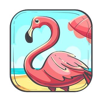 Ciao estate icona fumetto stilizzato illustrazione vettoriale con fenicottero