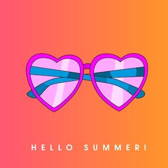 Ciao estate. illustrazione con vetro solare