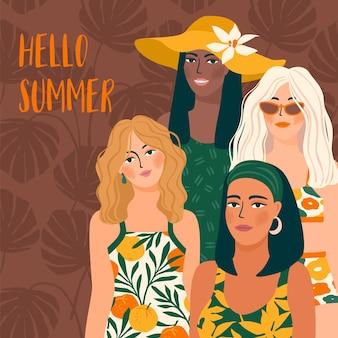 Ciao illustrazione estiva con ragazze con diversi colori della pelle che indossano costumi da bagno Vettore Premium